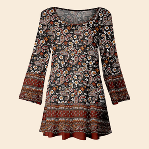 Women Fashion Brown Paisley Floral Scoop Neck Tunic -