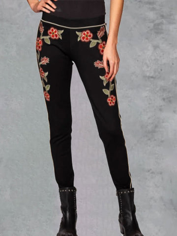 Women Floral Printing Skinny Workout Tight Long Pantalones