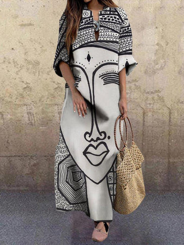 Women Printed Graphic Casual Shift Dress