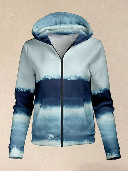 Purple & Blue Swirl Hoodie Women Casual Printed Sweatshirt Zipped Jacket With Hooded
