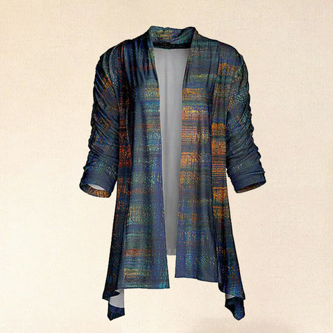 Women Hot Sale Navy & Rust Abstract Sidetail Open Cardigan