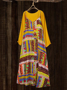 Women Ethnic Print Vintage Maxi Dress