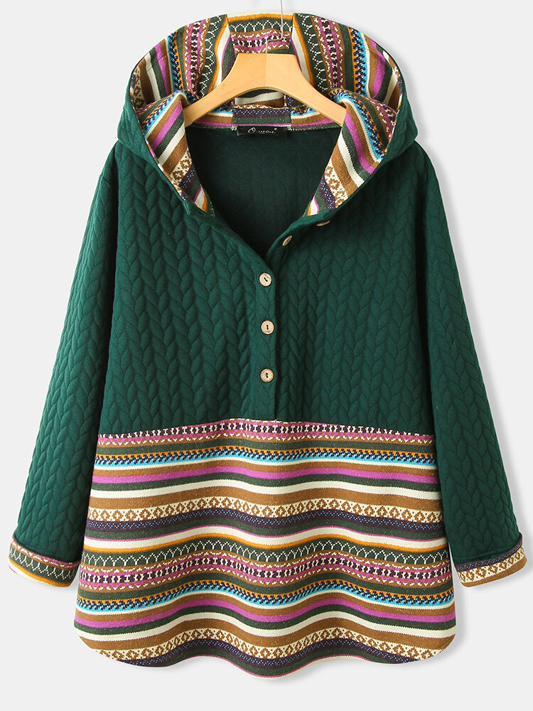 Jacquard Striped Patchwork Button Hoodie