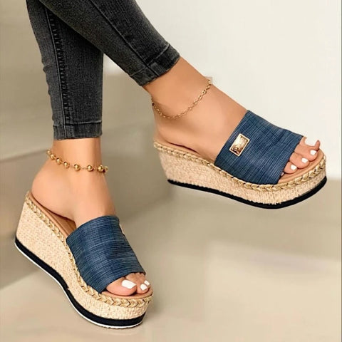 Summer Women's Braided Strap Slingbacks Wedge Heel Slippers