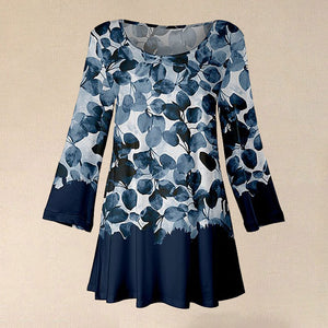 2020 Autumn Fashion Blue & White Leaf Scoop Neck Tops