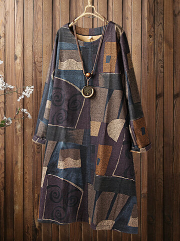 Color Blocks Print O-neck Long Sleeve Vintage Plus Size Dress-Purple