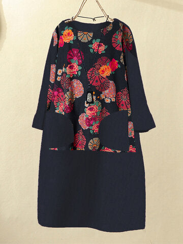 Corduroy Floral Print Patchwork O-neck Plus Size Dress-Navy