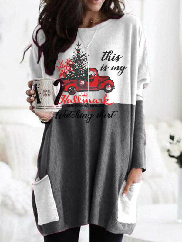 Women Fashion Christmas Hallmark stitching pocket knit top