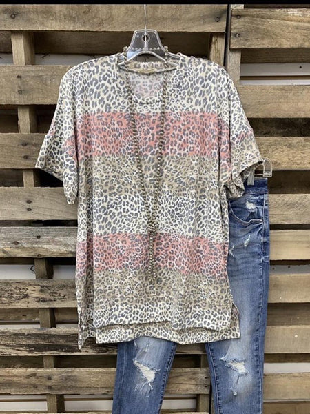 2020 New Leopard O-Neck Casual Cotton-Blend Tops