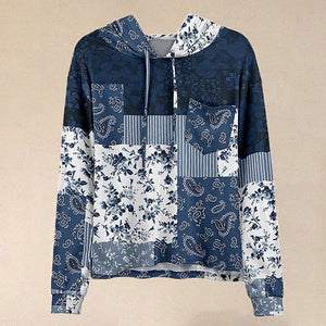 Women Hot Sale Blue & White Floral Patchwork Pocket Hoodie