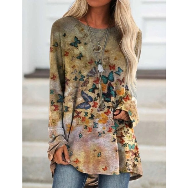 Women Butterfly Print O Neck Casual T-shirt