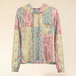 Women Hot Sale Pink & Yellow Floral Patchwork Pocket Hoodie