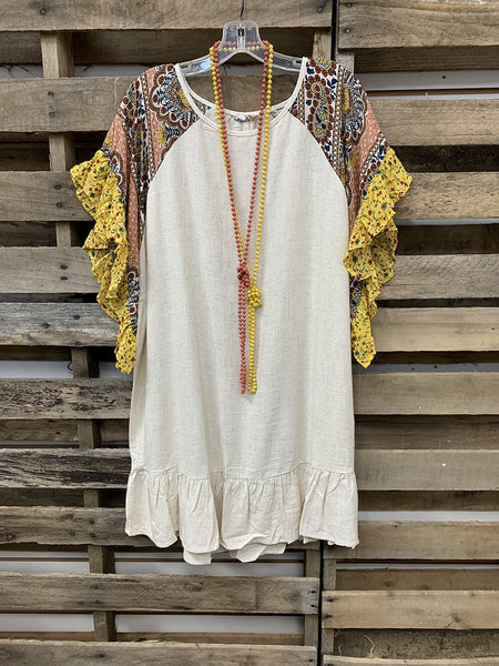 2020 Stylish Bohemian Floral Ethnic Pattern Stitching Short Sleeve Tops
