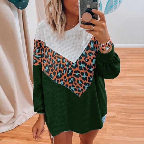Casual Leopard Patchwork Knitted Jumpers Long Sleeve Pullovers Sweaters