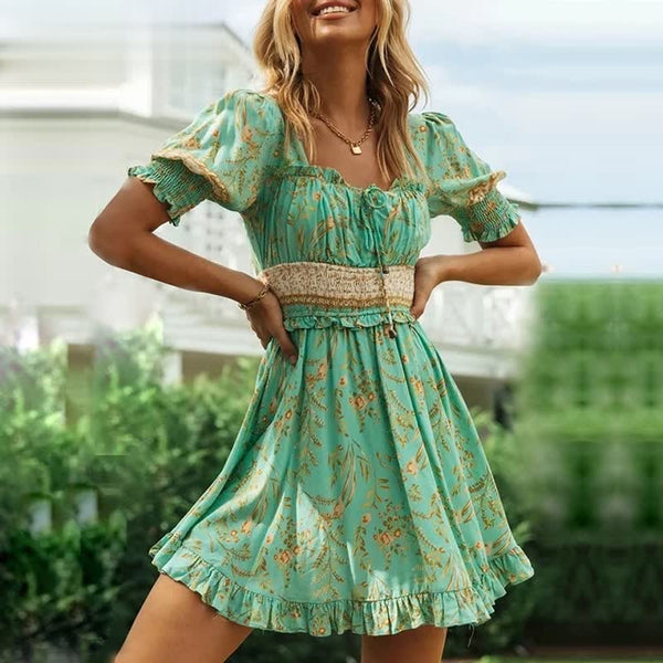green floral mini square neck frill elastic backless summer dress