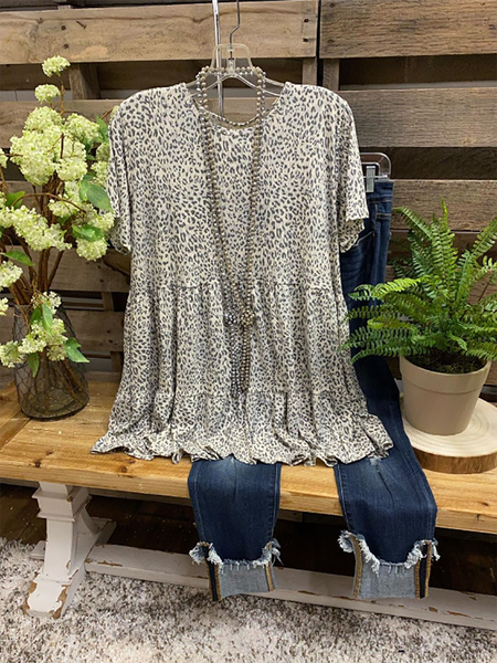 2020 New Gray Crew Neck Cotton Leopard Short Sleeve Tops