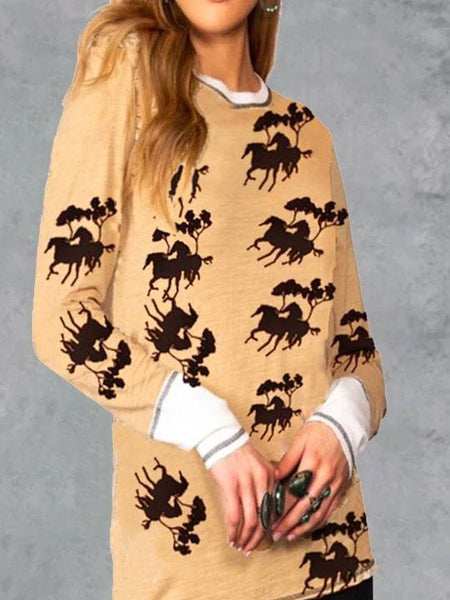 Women Horse Printed Casual Long Sleeve Harajuku Cotton Blended Tops