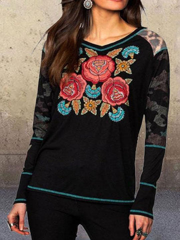Women Autumn Floral Printed  V-neck Long Sleeve Vintage Tops