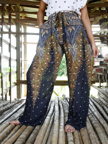 Boho Boutique Elephant Printed Women Harem Pants Fisherman Wide Leg Pants High Waist Yoga Pants