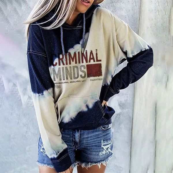 Women Casual Tie Dye Letter Printing Long sleeve Loose Hooded Tops