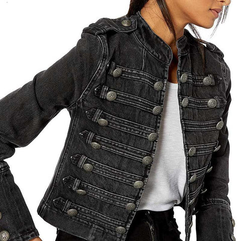 Military-Style Denim Jacket black buttons coat