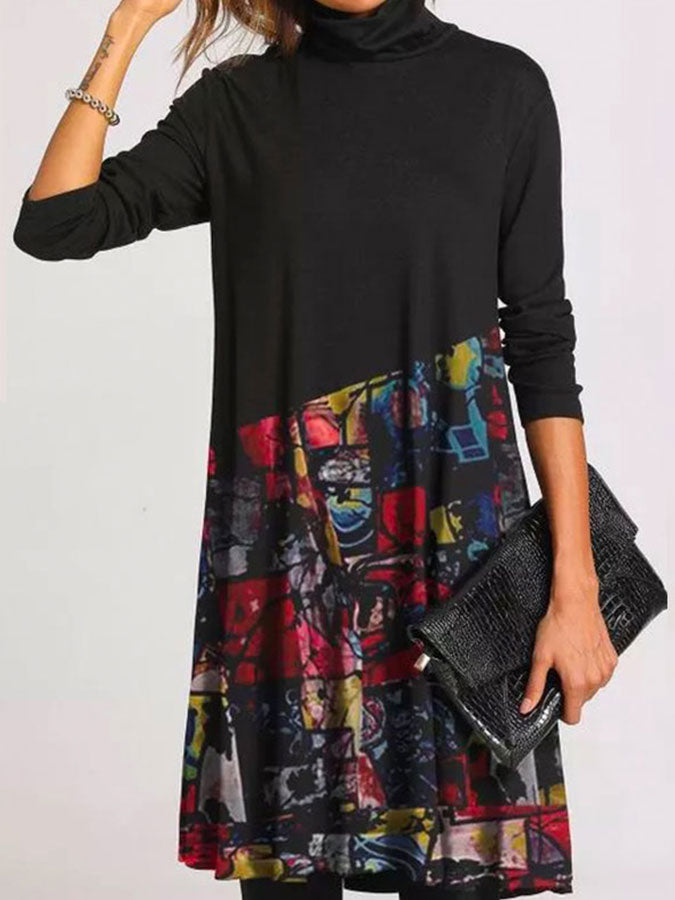Casual Geometric Tunic High Neckline Knee-Length A-line Casual Dress