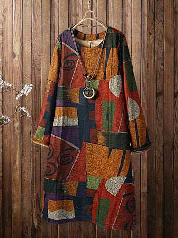 Color Blocks Print O-neck Long Sleeve Vintage Plus Size Dress-Orange