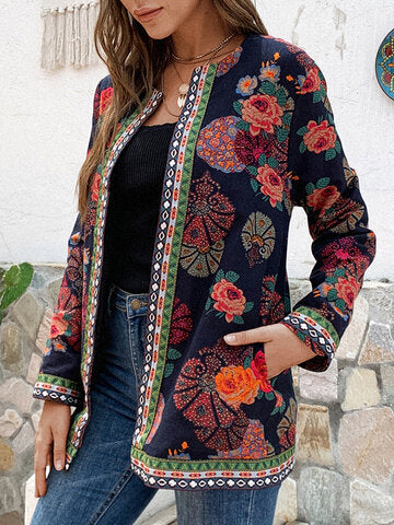 Women Floral Print Plus Size Jackets