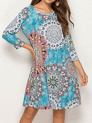 Blue Mandala Pocket Shift Dress