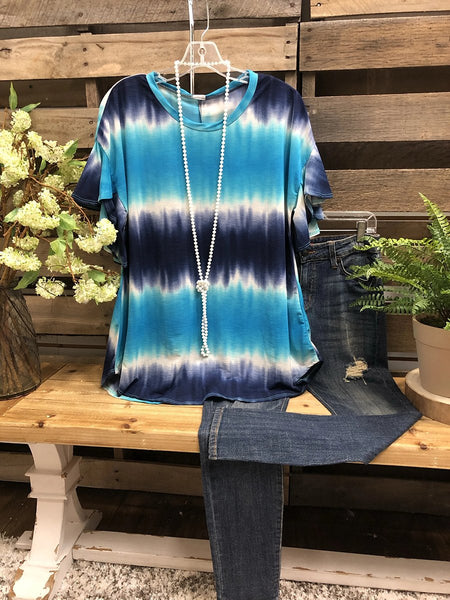 2020 Summer Blue Casual Ombre/tie-Dye Crew Neck Tops
