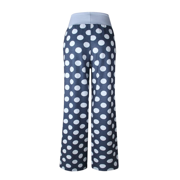 Hot Sale Women Causal Flower Print Pants Drawstring Wide Leg Loose Straight Pants