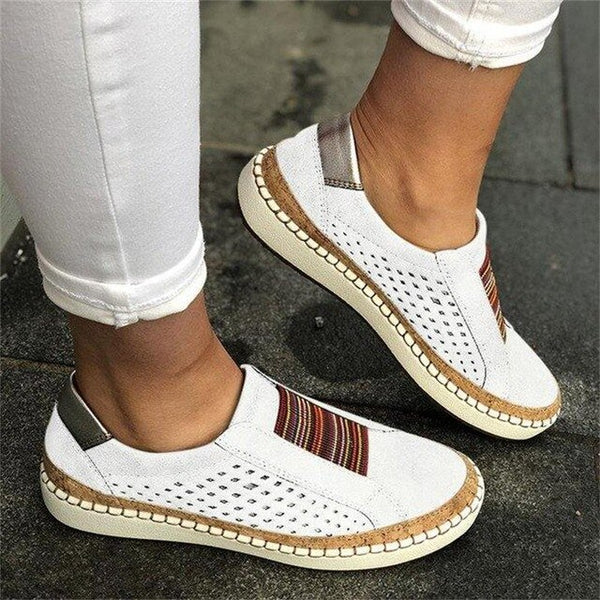 Women Suitable Hollow Out Striped Breathable Elastic Band Retro Casual Flat for Wide Leg Women Sneaker