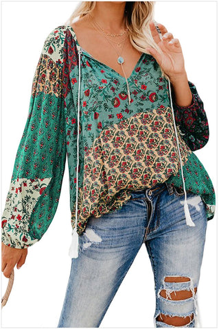 2020 New Plus Size Blouse Women V-neck Long Sleeve Casual Loose Floral Print Tops