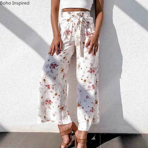 women boho tassel tied cotton wide leg pants