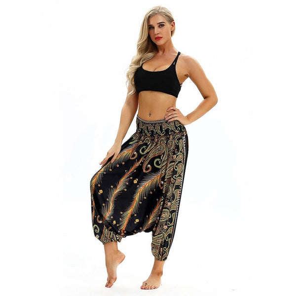 Casual Harem Boho Loose Hippy High Waist Jumpsuit Pants