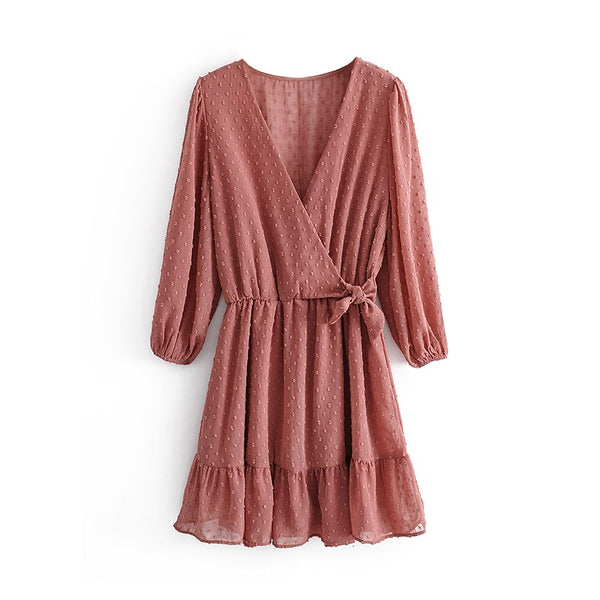 2020 Women Ruffles Lace Chiffon Dress