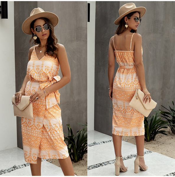 Women Printed Summer Slip Sundress Backless Sleeveless Dresses