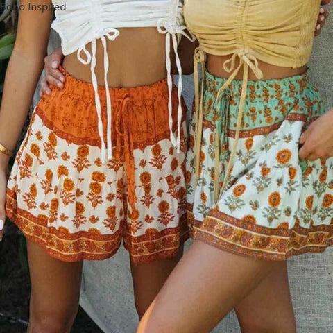 boho floral shorts for women elastic waist tied High Waist
