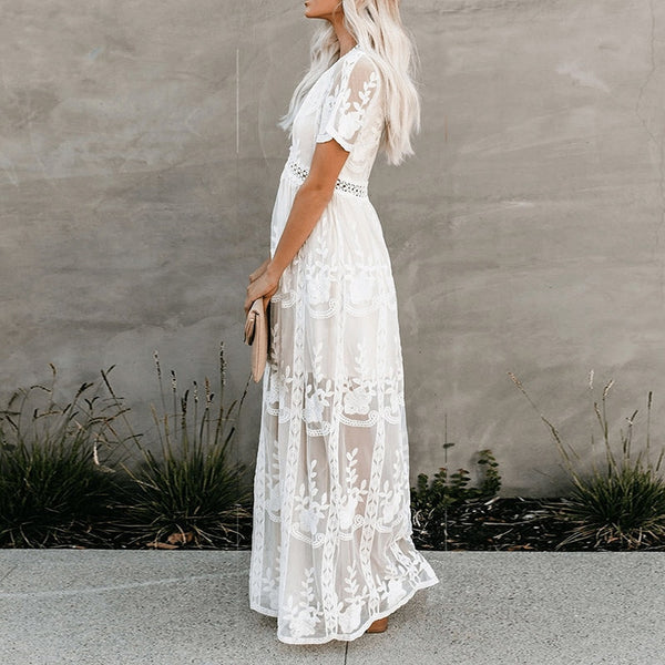 women deep V-neck  white Lace tunic summer beach  lining embroidery slit side dress