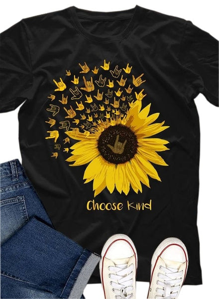 Yellow Sunflower Printed Casual Tee