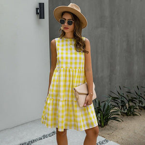 Women Black A-line Sundresses Pockets Summer Causal Dress