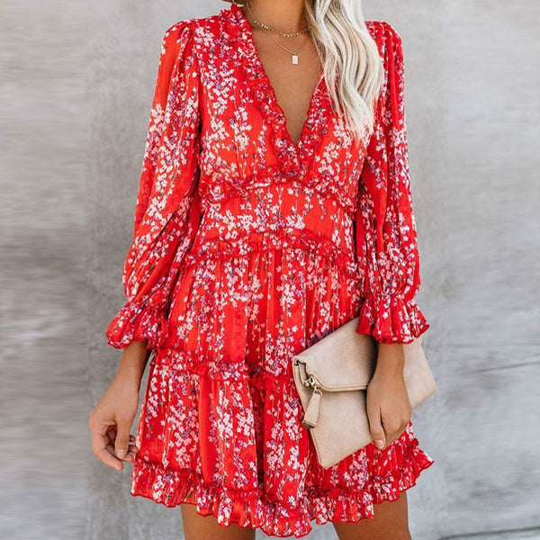 Harlow Floral Print Ruffle Backless V-neck  Dress