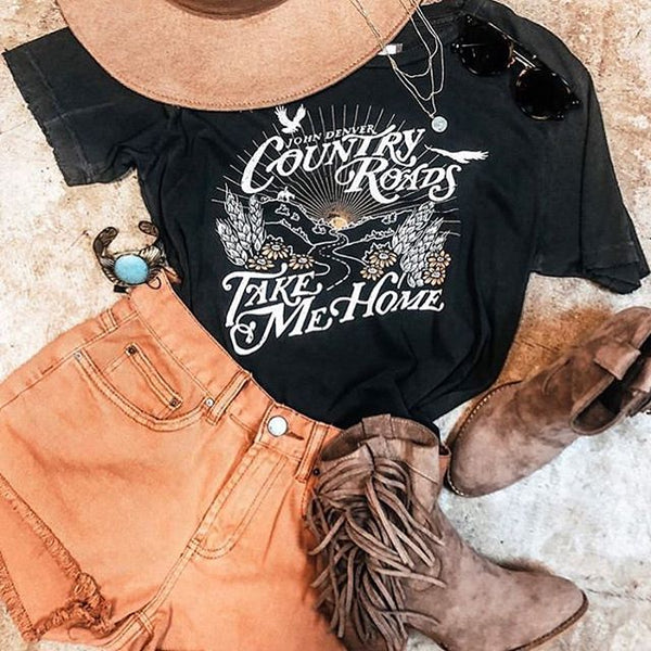 white summer country music style t-shirt