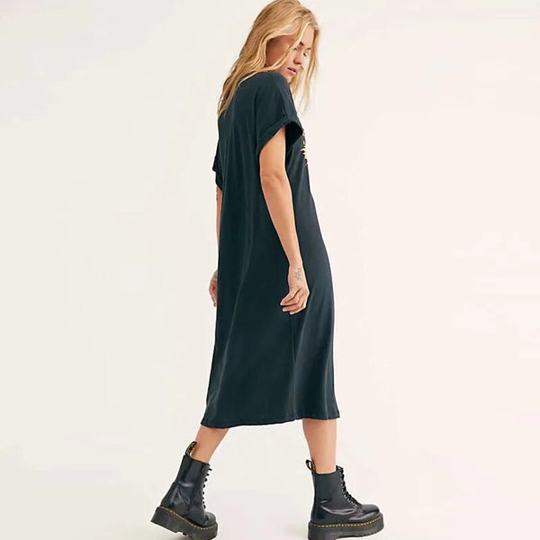 Women's Black Journey Tshirt Dress  New Vestido