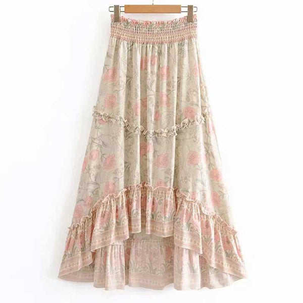rosy floral cotton high-low hem skirts casual holiday summer skirt