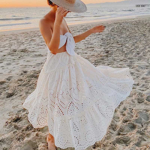 women gathered tiers white long skirt hotllow out