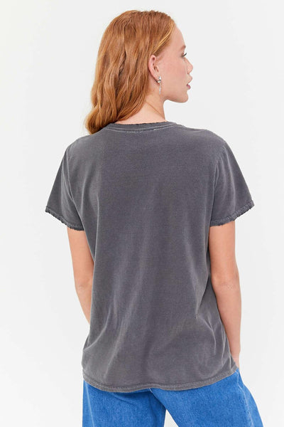 gray graphic women cotton tops