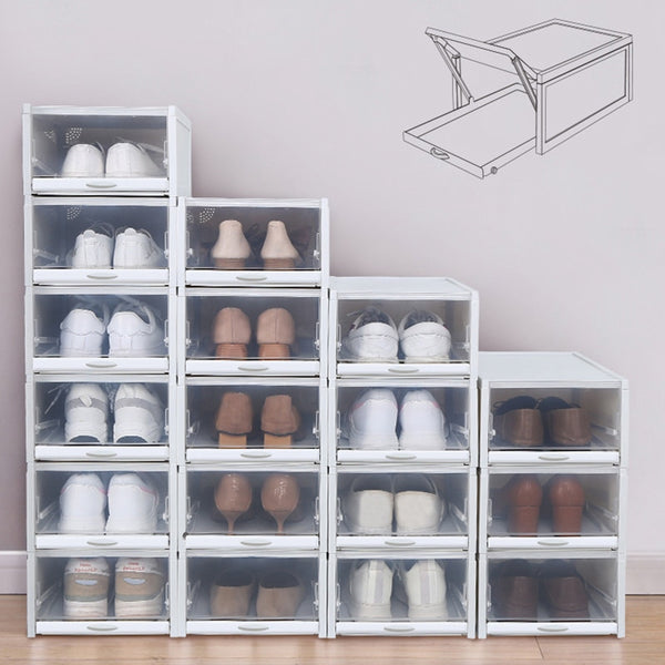 3pcs/set Foldable Drawer Type Shoe Box Thickened Combination Shoe Storage Boxes Save Space Plastic Shoe Organizers Rack Cabinet