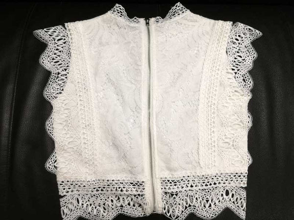 high neckline lace embroidered woment sleevless tops