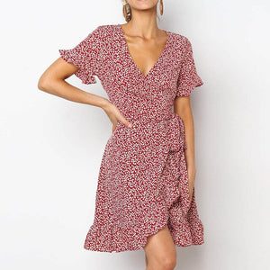 Floral Print Boho Ruffle Mini Dress Women 2020 A Line Short Sleeve Party Dresses